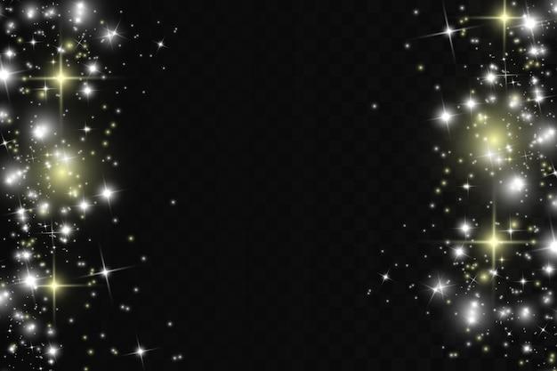 Chispas blancas y estrellas doradas brillan con efecto de luz especial. destellos sobre fondo transparente.
