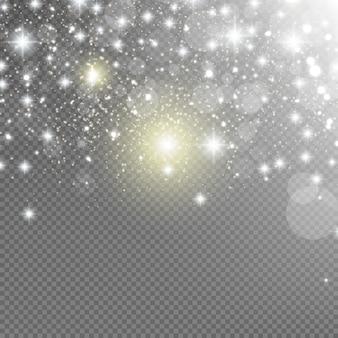 Las chispas blancas y las estrellas doradas brillan con un efecto de luz especial. vector destellos sobre fondo transparente. resumen de navidad