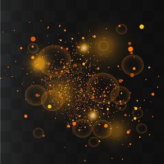 Chispas blancas, estrellas doradas brillan, luz, partículas de polvo