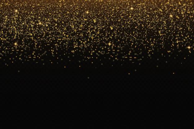 Chispas doradas y estrellas doradas brillan efecto de luz especial