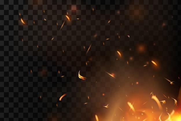 Chispas de fuego rojo volando hacia arriba. quemando partículas brillantes. llama de fuego con chispas en el aire durante una noche oscura. textura de tormenta de fuego. aislado en un fondo negro transparente