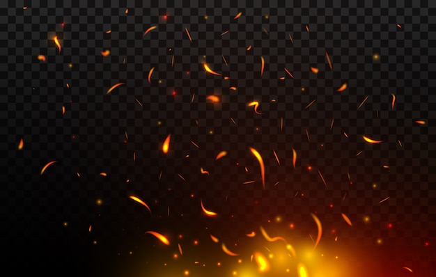 Chispas de hoguera volando, fuego, quemando partículas rojas y naranjas brillantes. llama de fuego realista con chispas volando en el aire. tormenta de fuego, balefire sobre fondo negro transparente