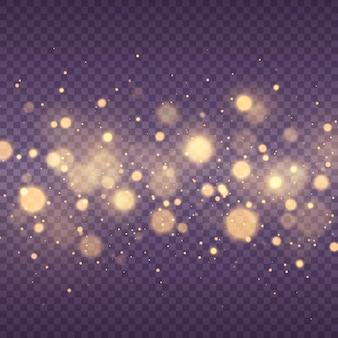 Las chispas de polvo y las estrellas doradas brillan con círculos de bokeh amarillos brillantes de luz especial