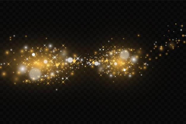 Las chispas de polvo y las estrellas doradas brillan con una luz especial.