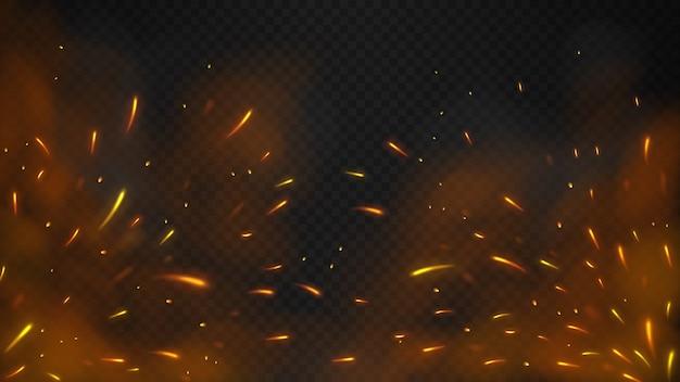 Chispas voladoras de fuego con un fondo transparente