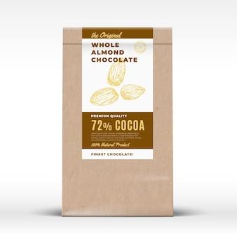 El chocolate de almendras original. etiqueta de producto de bolsa de papel artesanal.