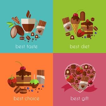 El chocolate es el mejor conjunto de ilustraciones de dieta.