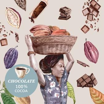 Chocolate con mujer cosechando ingredientes de acuarela de cacao, haciendo chocolate, ilustración