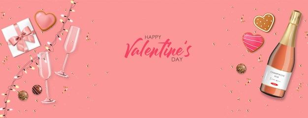 Chocolate realista, regalo, galletas, champán y luces, postre delicioso, día de san valentín, amor, colección de bombones de chocolate con vista superior, champán rosado