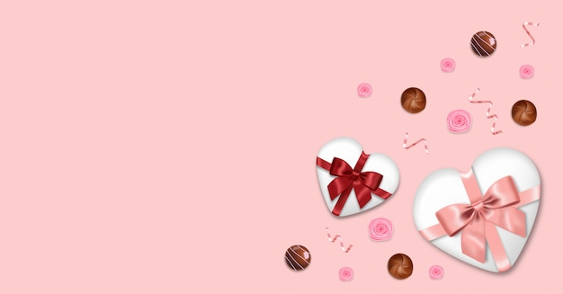 Chocolate realista, rosa, regalo, confeti rosa, fondo del día de san valentín