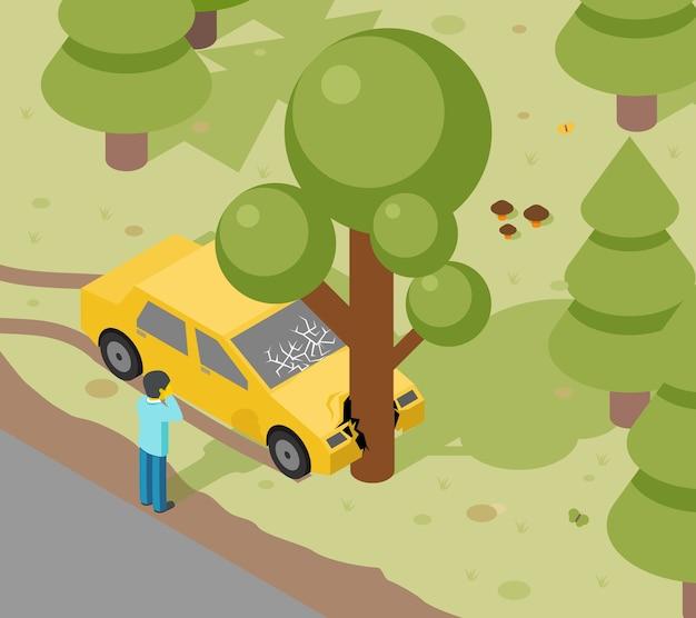 Choque de árbol de coche. accidente auto isométrico peligro, riesgo y transporte.