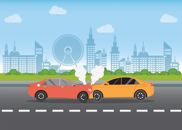 Choque de coche en la carretera, accidente de coche.