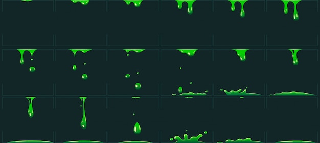 Chorreando limo verde animación. dibujos animados animados líquido de residuos tóxicos. ilustración de vector de ácido o veneno goteo gota fx sprite