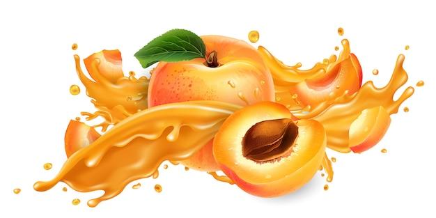 Chorrito de jugo de frutas y albaricoques frescos.