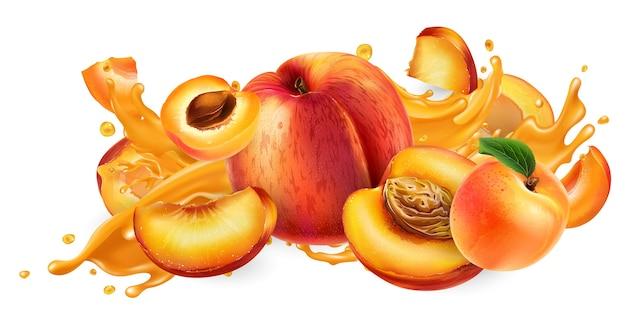 Chorrito de jugo de frutas y duraznos y albaricoques frescos.