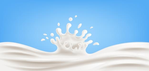 Chorrito realista de leche sobre fondo azul