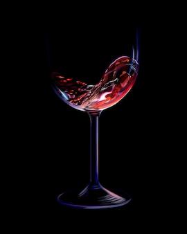 Chorrito de vino tinto en una copa sobre un fondo negro. ilustración