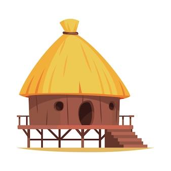 Choza de madera de dibujos animados con techo de paja en blanco