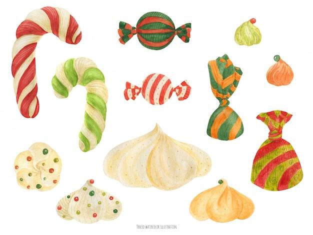 Christmas elf factory sweet items, acuarela