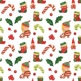 Christmas elves story acuarela de patrones sin fisuras con elfo niña