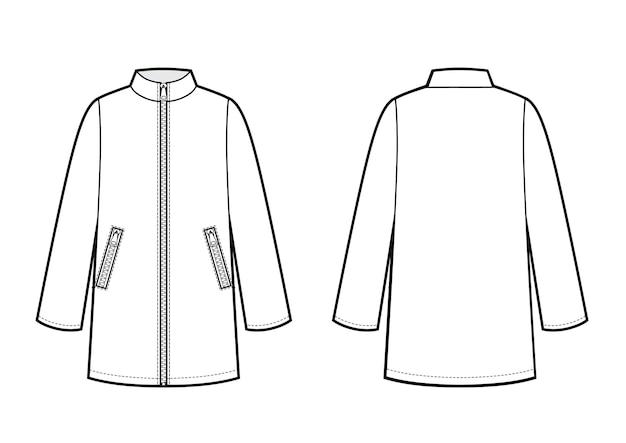 Chubasquero femenino de manga larga y bolsillos. ilustración vectorial. boceto de moda