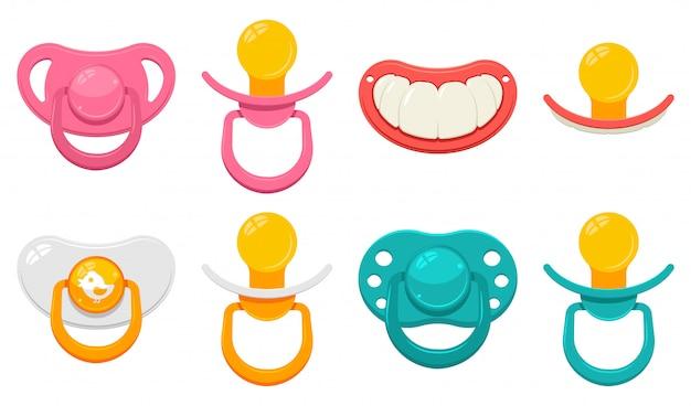 Chupete en diferentes tipos para niños y niñas conjunto de dibujos animados aislado en un fondo blanco.