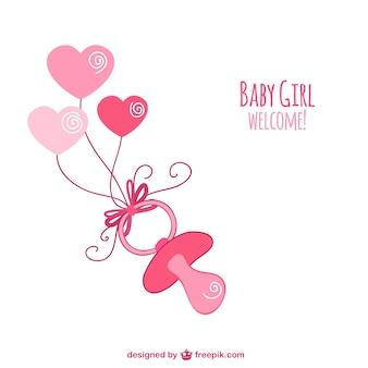 Chupete rosa esbozado para bienvenida del bebé