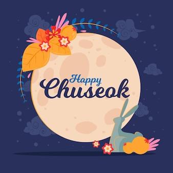 Chuseok dibujado a mano con luna