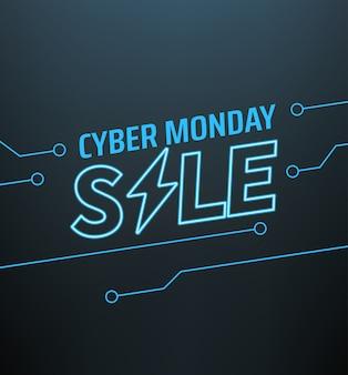 Ciber lunes venta banner. concepto de oferta de temporada