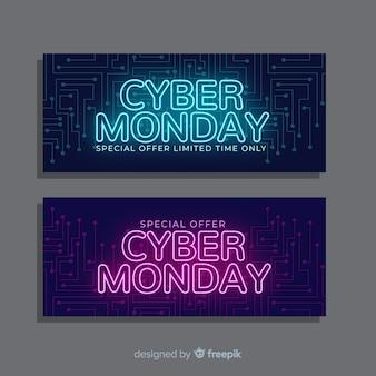 Ciber lunes volantes pancartas en diseño plano