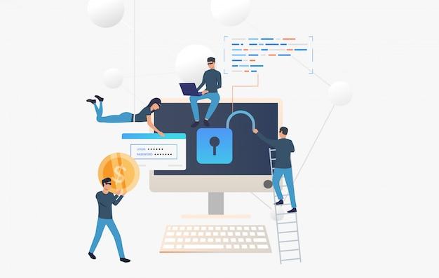Ciberdelincuentes pirateando cuenta bancaria