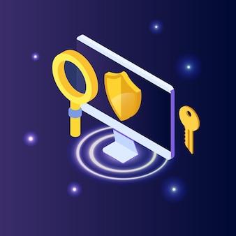 Ciberseguridad, concepto isométrico de datos seguros de la red de protección. plantillas de diseño de páginas web.