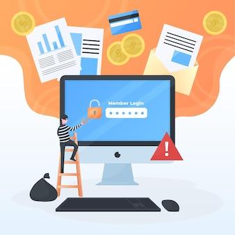 Ciberseguridad con hombre y computadora