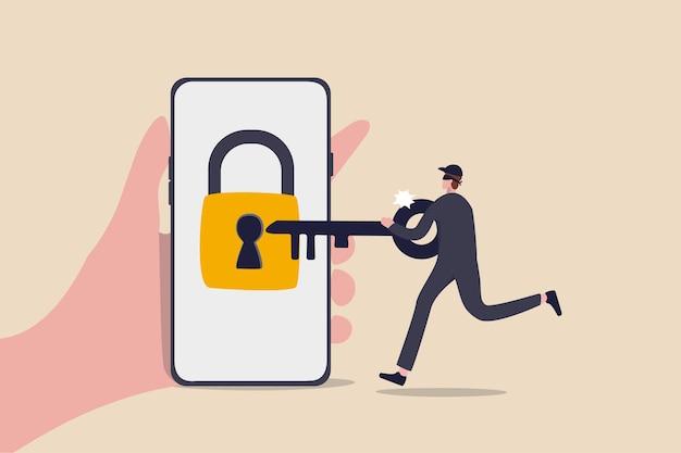 Ciberseguridad, piratas informáticos roban dinero en línea, phishing o concepto de amenaza bancaria digital