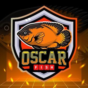 Cichlids oscar fish mascot esport logo design