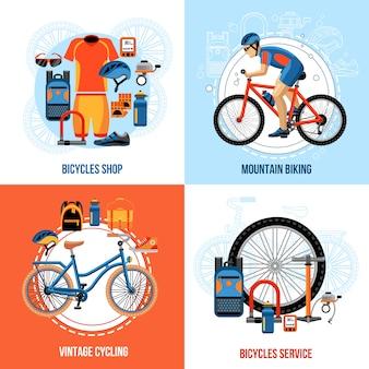 Ciclismo de elementos y personajes.