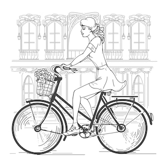 Ciclista chica en parís. mujer joven de ocio, viajes urbanos, ciudad de la moda. dibujado a mano hermosa niña en la ilustración de vector de parís