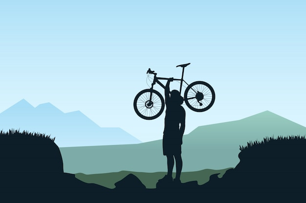 Ciclista llevar bicicleta