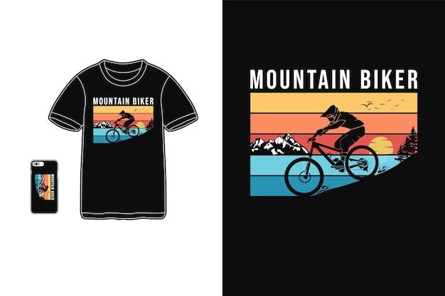 Ciclista de montaña, camiseta mercancía silueta estilo retro
