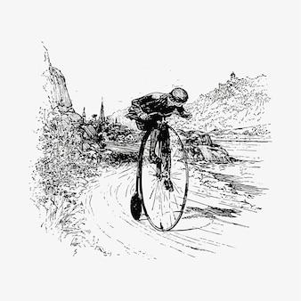 Ciclista rueda grande dibujo vintage.