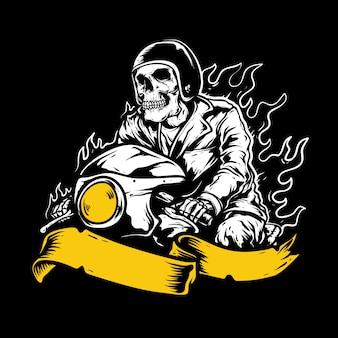 Ciclistas, cráneo montando una motocicleta, dibujo a mano, aislado
