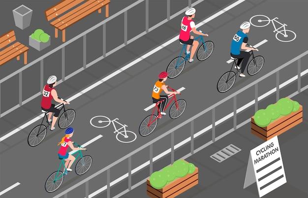 Ciclistas que participan en la maratón de bicicletas de la ciudad isométrica.