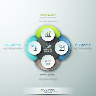 Ciclo de papel infográfico abstracto moderno