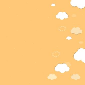 Cielo amarillo con nubes modelado vector de fondo