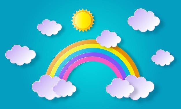 Cielo azul con arco iris y nubes, sol. arte de papel