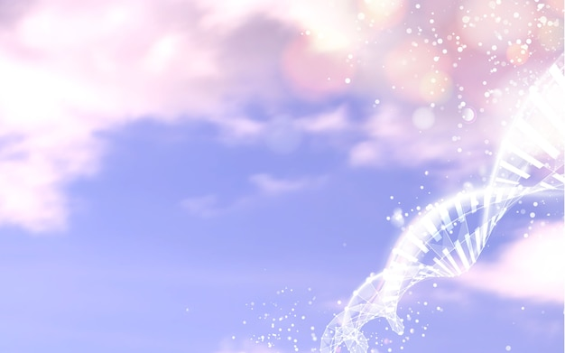 Cielo azul con elementos de ciencia abstracta