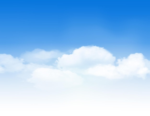 Cielo azul con nubes blancas. fondo de vector.