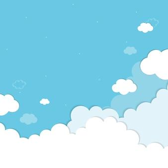 Cielo azul con nubes con dibujos vectoriales de fondo