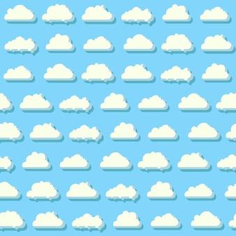 Cielo azul con nubes de patrones sin fisuras