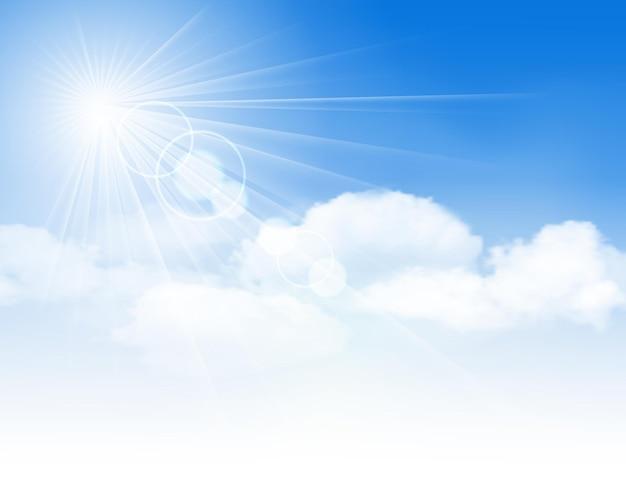 Cielo azul con nubes y sol. ilustración vectorial